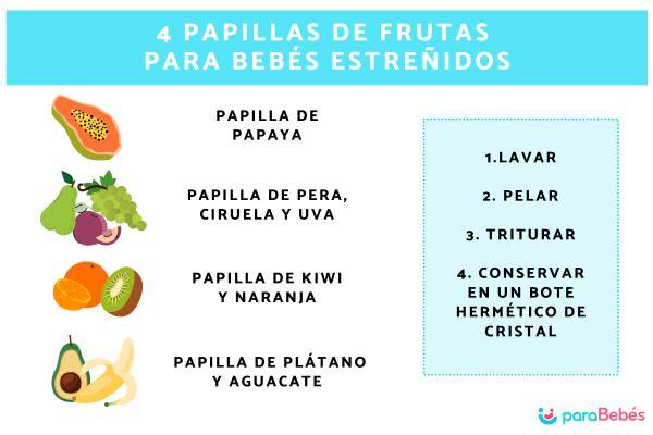 Papillas de frutas para bebés estreñidos, ¿funcionan?