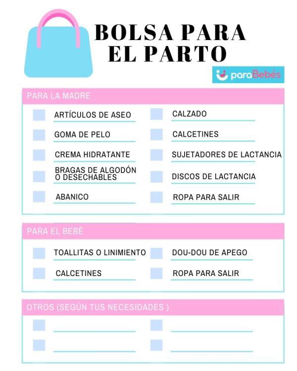 Qué llevar al hospital para el parto - Lista para imprimir con los imprescindibles para la bolsa de parto