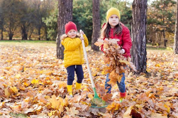 Actividades de otoño para infantil - Barriendo hojas