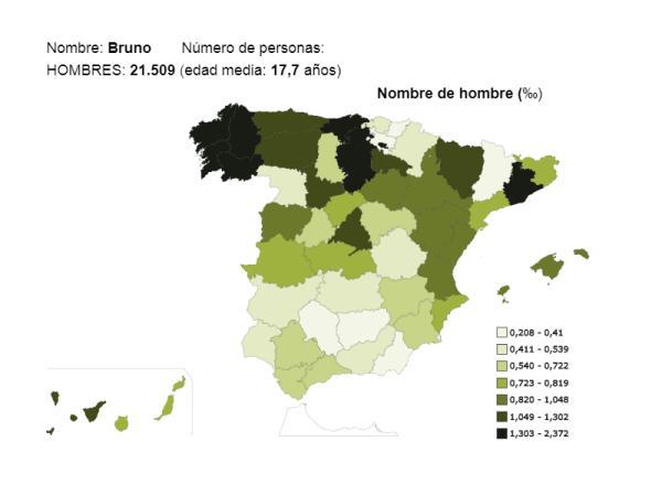 Significado del nombre Bruno - Popularidad del nombre Bruno
