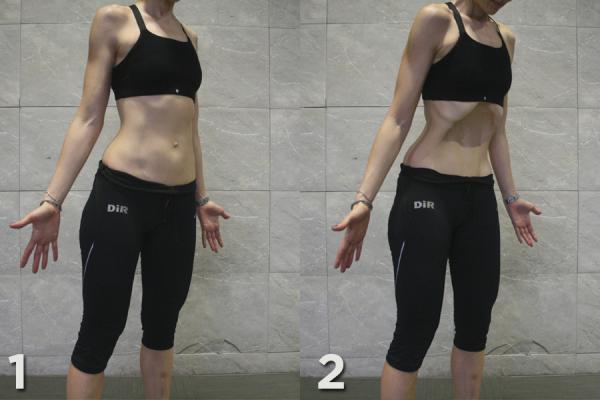 Ejercicios hipopresivos postparto - De pie con los pies paralelos