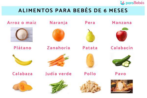 Alimentos para bebés de 6 meses