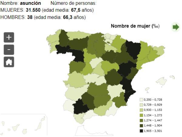 Significado del nombre Asunción - Popularidad del nombre Asunción