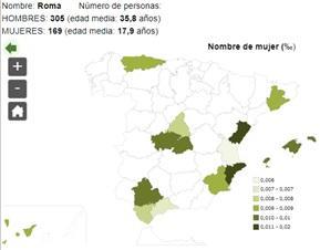 Significado del nombre Roma - Popularidad del nombre Roma