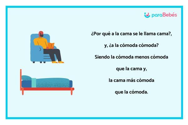 Trabalenguas infantiles - La cama y la cómoda