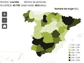Significado del nombre Lourdes - Popularidad del nombre Lourdes