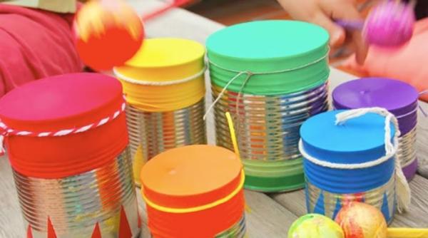 Instrumentos musicales caseros para niños - Tambor
