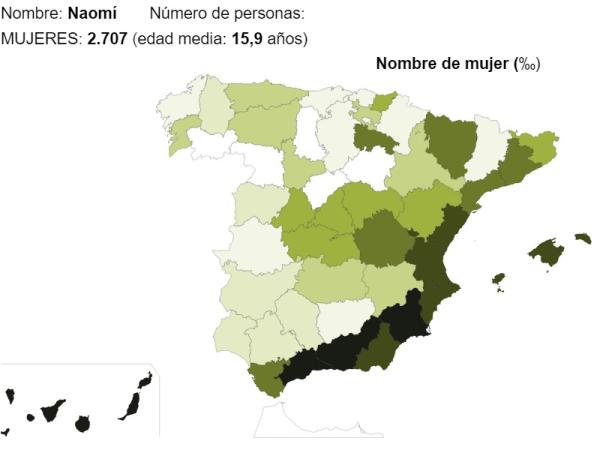 Significado del nombre Naomí - Popularidad del nombre Naomí