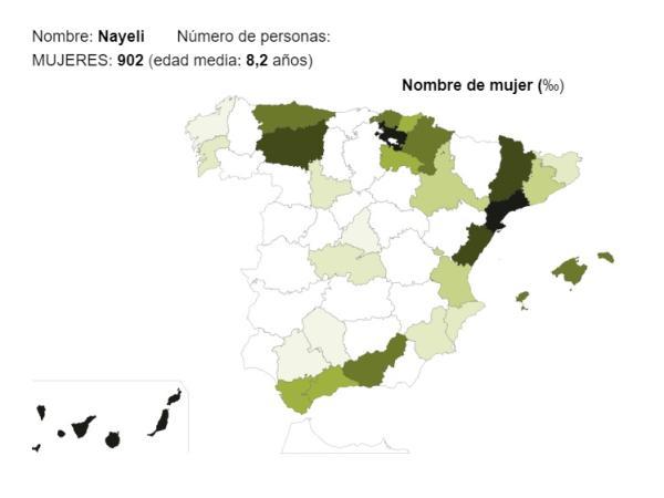 Significado del nombre Nayeli - Popularidad del nombre Nayeli