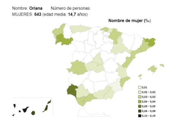 Significado del nombre Oriana - Popularidad del nombre Oriana