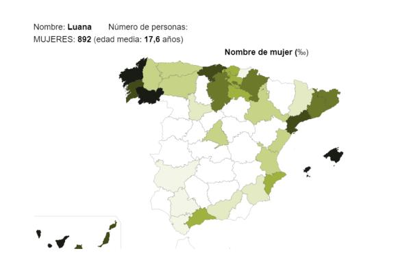 Significado del nombre Luana - Popularidad del nombre Luana